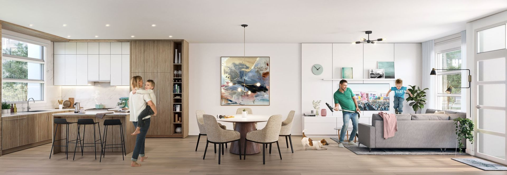 kin-collection-parkside-living-dining-rendering at The Kin Collection (7470 Buller Avenue, Metrotown, Burnaby South)