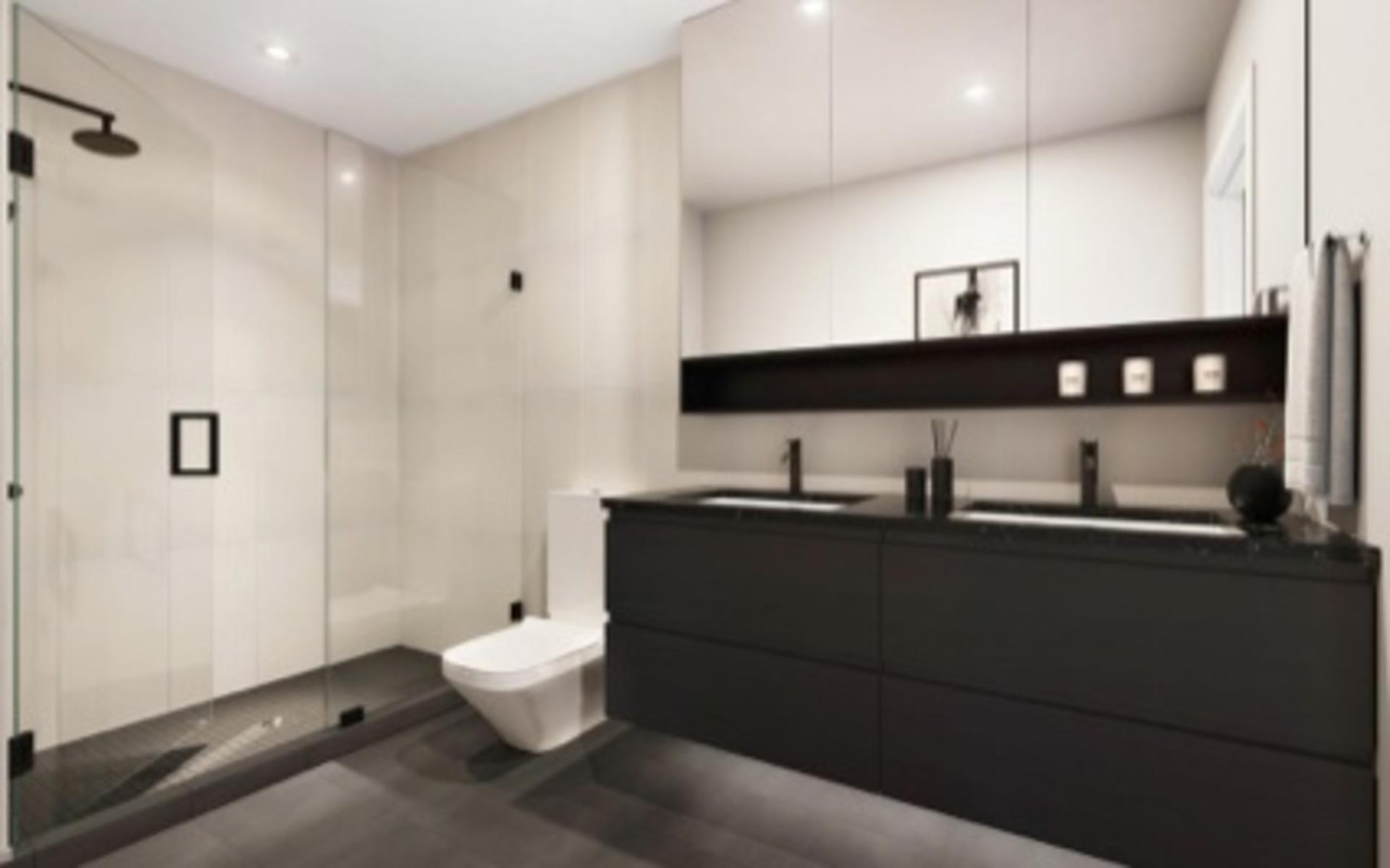 The Hillcrest-'Urban'-bathroom-dark-colour-scheme at The Hillcrest (198 W King Edward Avenue, Cambie, Vancouver West)
