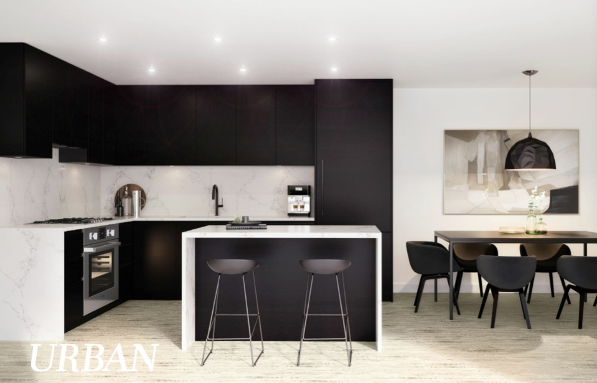 The Hillcrest-'Urban' kitchen-dark colour-scheme at The Hillcrest (198 W King Edward Avenue, Cambie, Vancouver West)