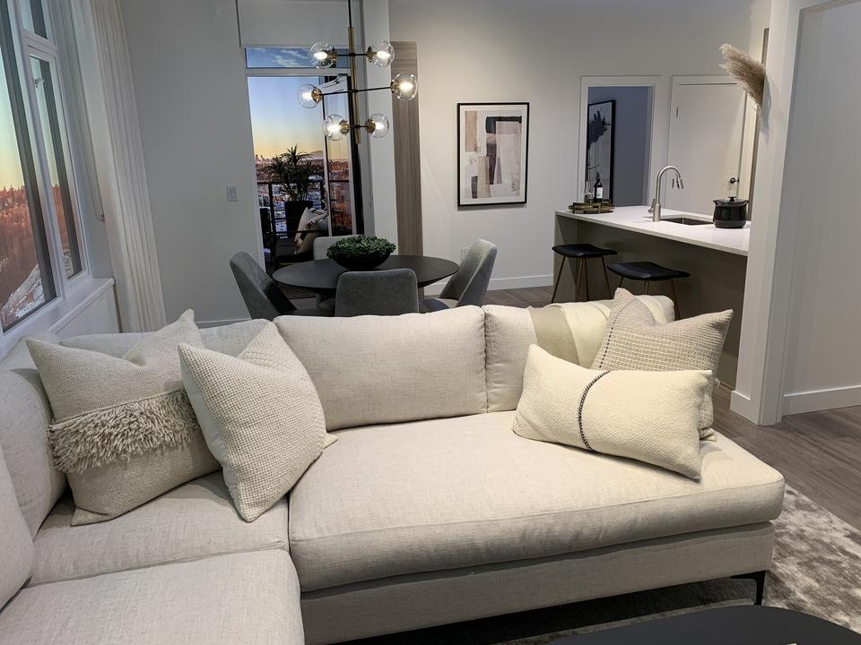 alaska-2b-plan-display-2-bedroom-living-area-in-grey-colour-scheme at Alaska (4455 Alaska Street, Brentwood Park, Burnaby North)