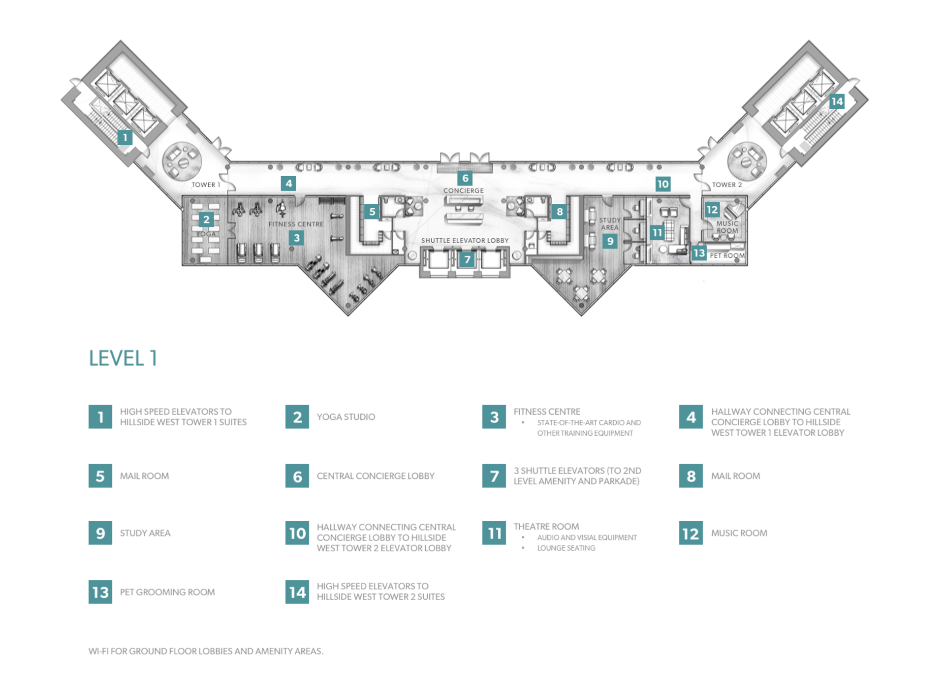 amenities-level-Hillside-West-Concord-Brentwood at Hillside West Tower 1 and 2 - Concord Brentwood (4720 Lougheed Highway, Brentwood Park, Burnaby North)