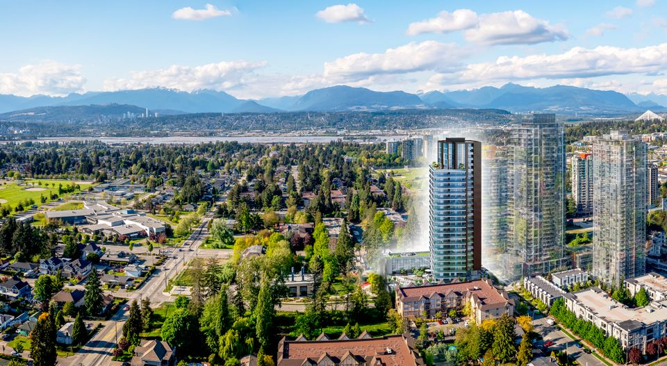 aerial-withglow at Melrose Tower (10333 133 St, Surrey, Bc, Whalley, North Surrey)
