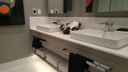 hensley-hotel-ensuite-with-countertop-sinks at 430 Westview Street, Coquitlam West, Coquitlam
