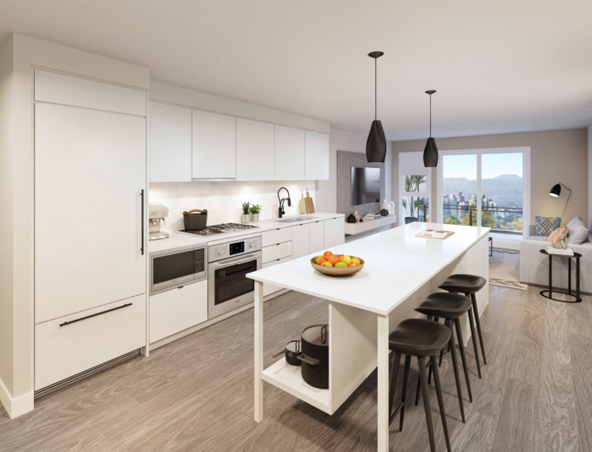 midtown-modern-kitchen-rendering at Midtown Central (702 E Broadway, Mount Pleasant VE, Vancouver East)