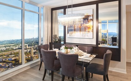 escala-brentwood-highrise-dining-room at Escala (1788 Gilmore Avenue, Brentwood Park, Burnaby North)