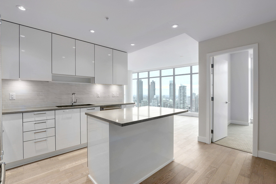 Bright white kitchen at 3610 - 1788 Gilmore Avenue, Willingdon Heights, Burnaby North