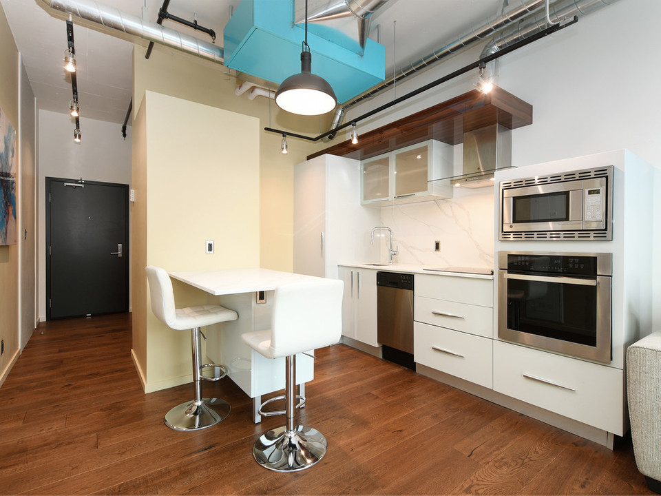 Kitchen and Island at 723 - 1029 View Street, Downtown and Harris Green, Victoria