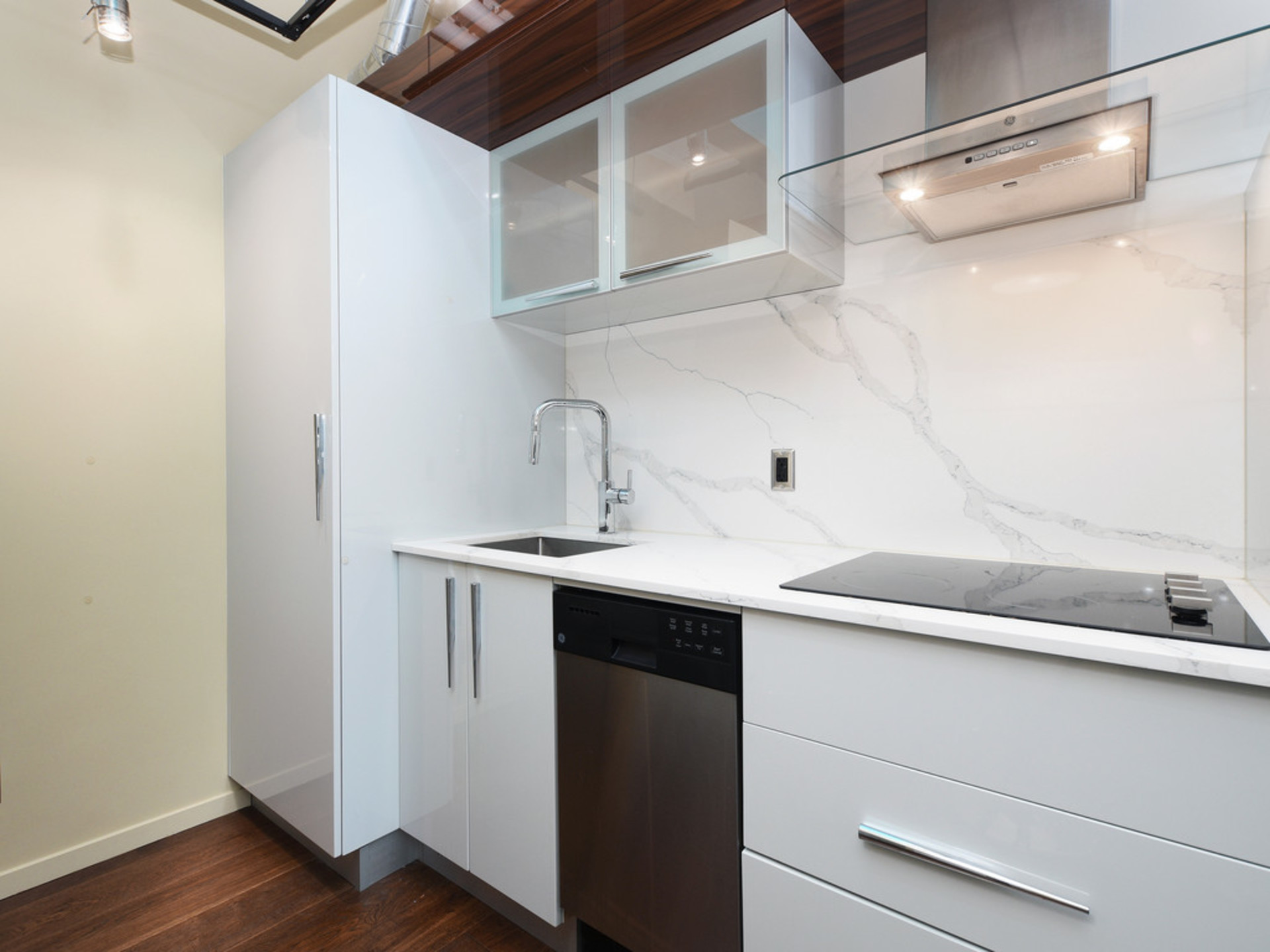 Kitchen with GE Loft Series Appliances at 723 - 1029 View Street, Downtown and Harris Green, Victoria