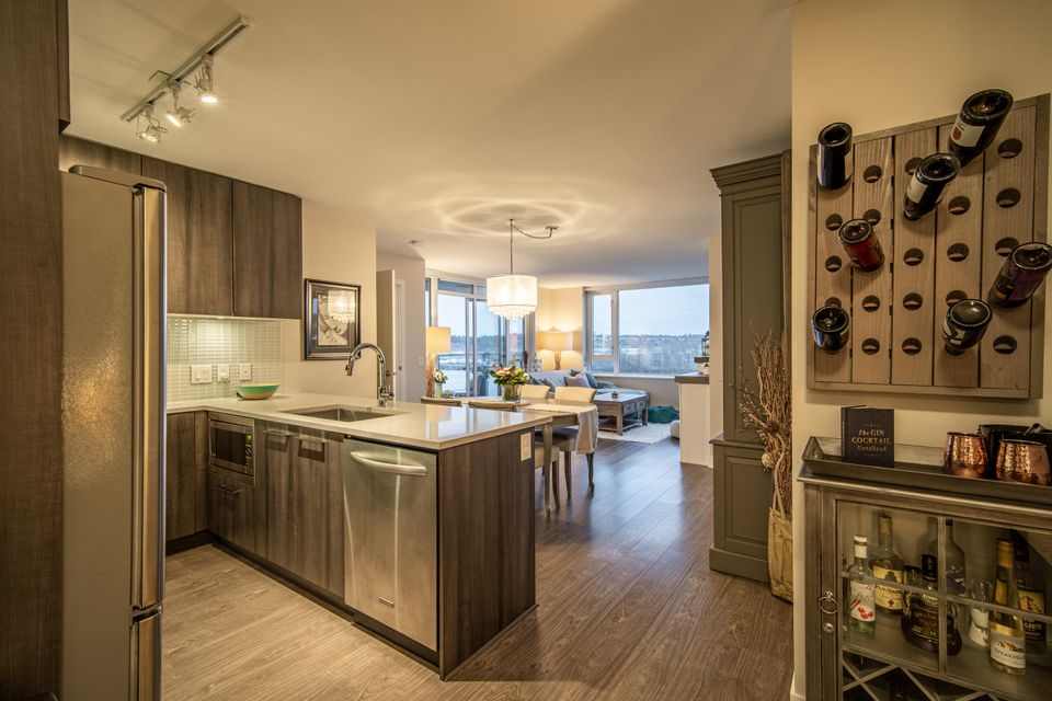 Kitchen at 910 - 668 Columbia Street, Quay, New Westminster