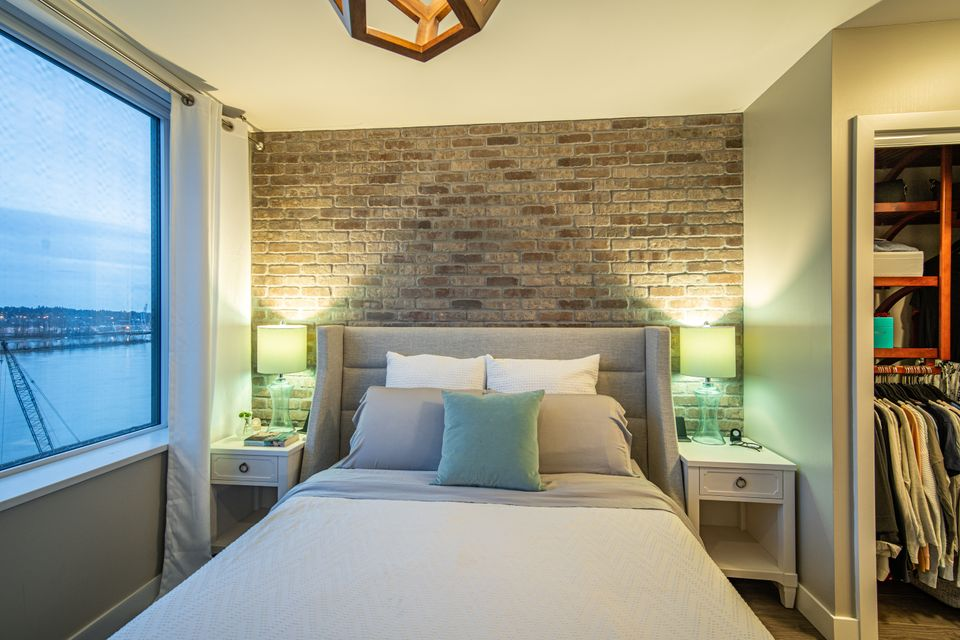 Custom Brick Accent Wall  at 910 - 668 Columbia Street, Quay, New Westminster