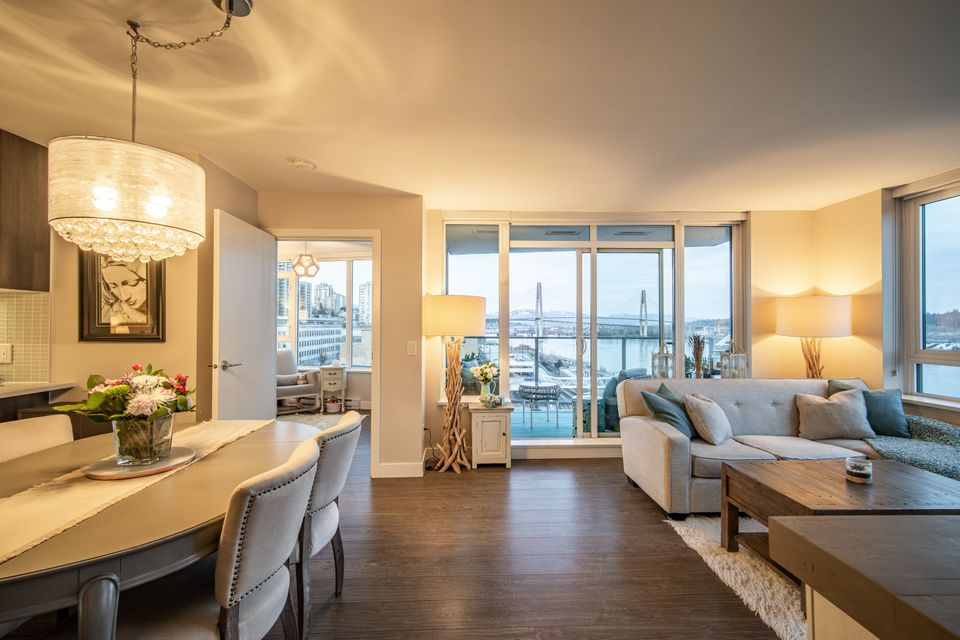 Living Area at 910 - 668 Columbia Street, Quay, New Westminster