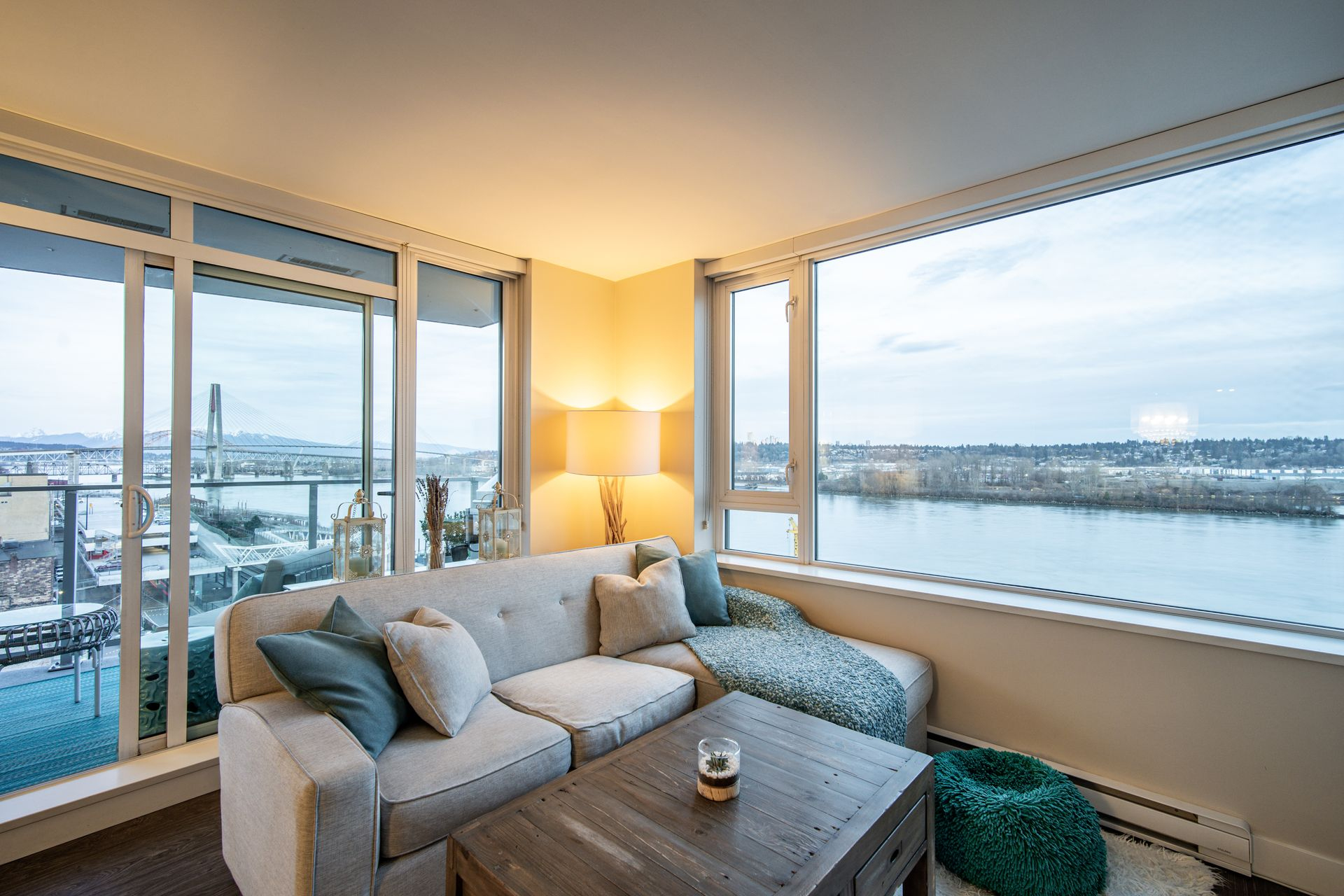 River View from Living Room at 910 - 668 Columbia Street, Quay, New Westminster
