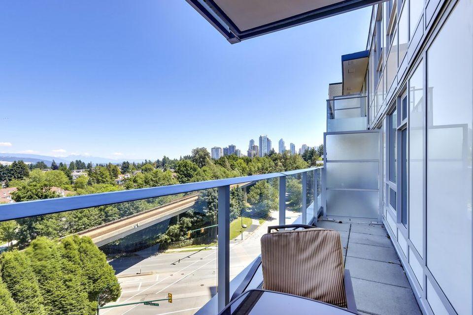 full width balcony looking east at 1103 - 5470 Ormidale Street, Collingwood VE, Vancouver East