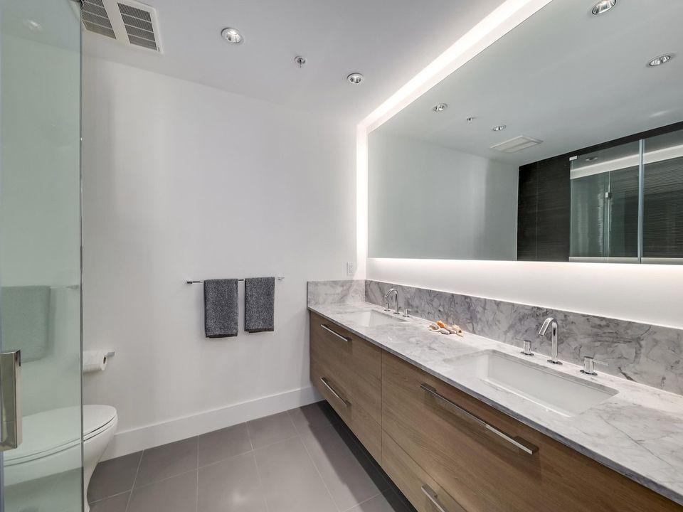 Ensuite Bathroom Double Sinks at 1605 - 7388 Kingsway, Edmonds BE, Burnaby East