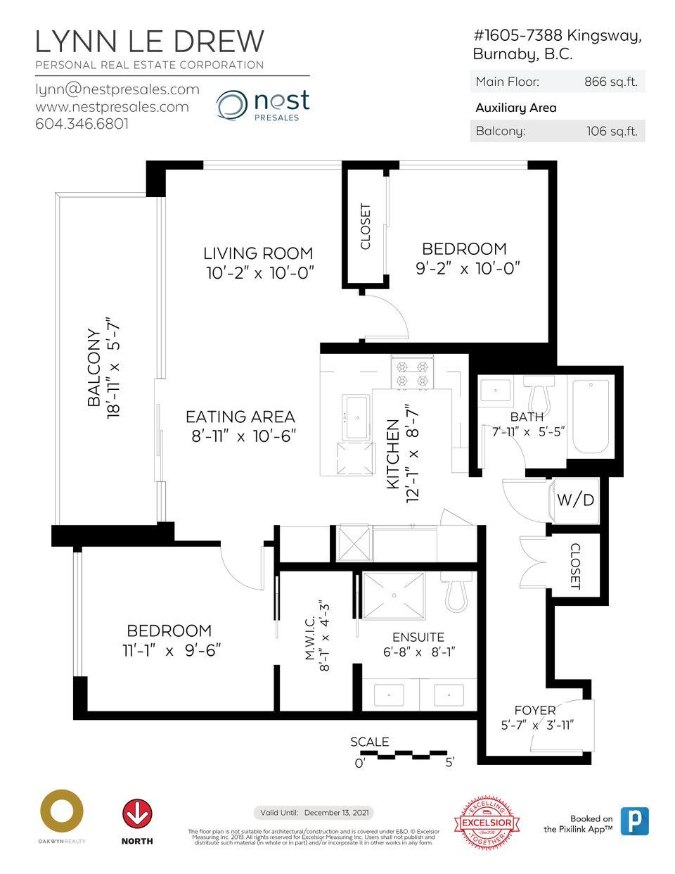 floorplan at 1605 - 7388 Kingsway, Edmonds BE, Burnaby East