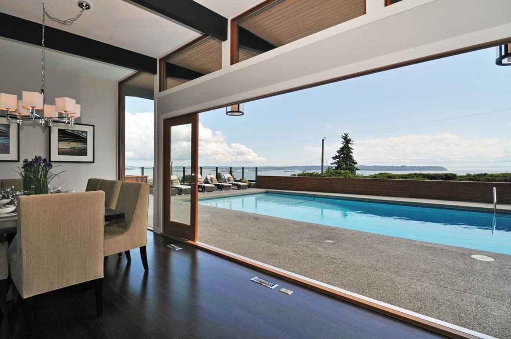4125BurkehillViewofPoolfromInteriorbest at 4125 Burkehill Place, Bayridge, West Vancouver