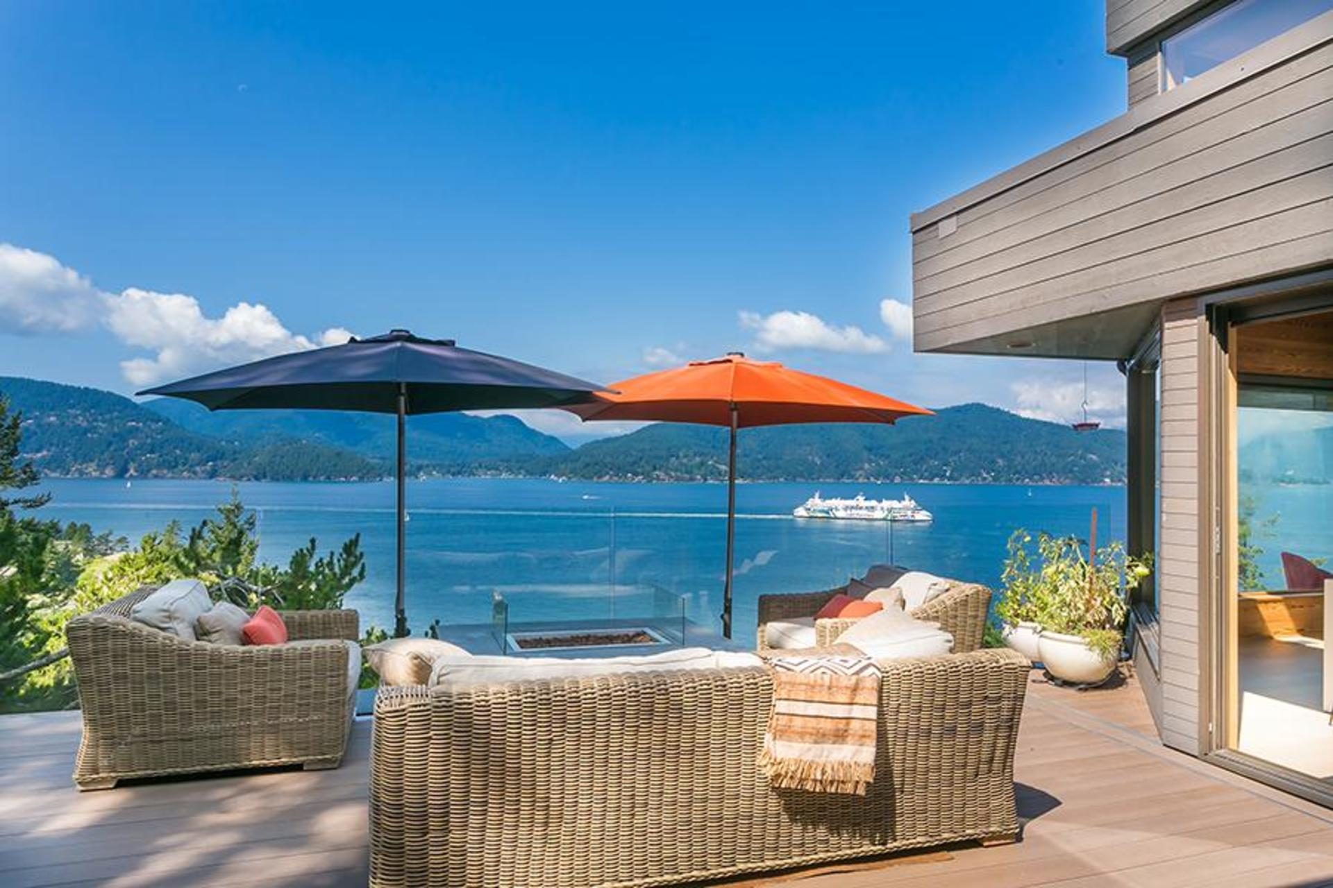 Patio with ocean view at 6995 Hycroft, Whytecliff, West Vancouver