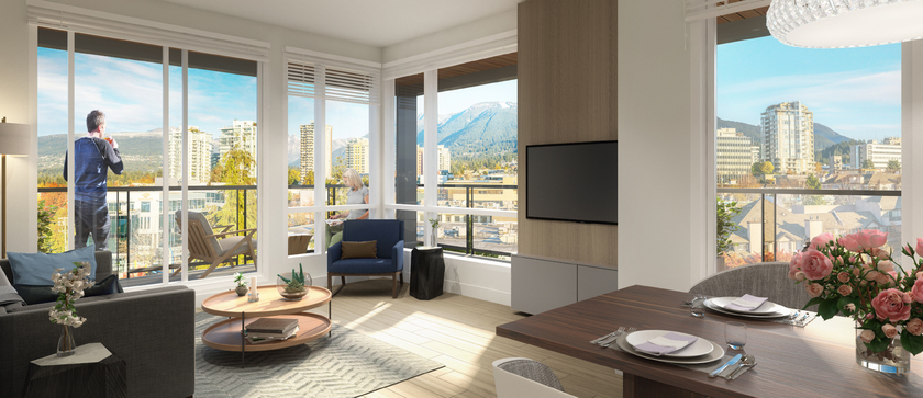 gallery-renderings-living-room at 302 - 150 E 8th Ave, Vancouver, Bc V5t 1r7, Central Lonsdale, North Vancouver