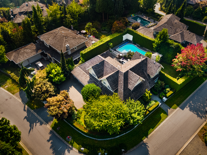 Aerial View at 4682 Decourcy Court, Caulfeild, West Vancouver