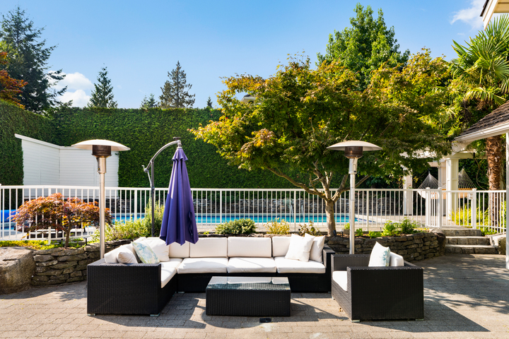 Poolside Sitting Area at 4682 Decourcy Court, Caulfeild, West Vancouver