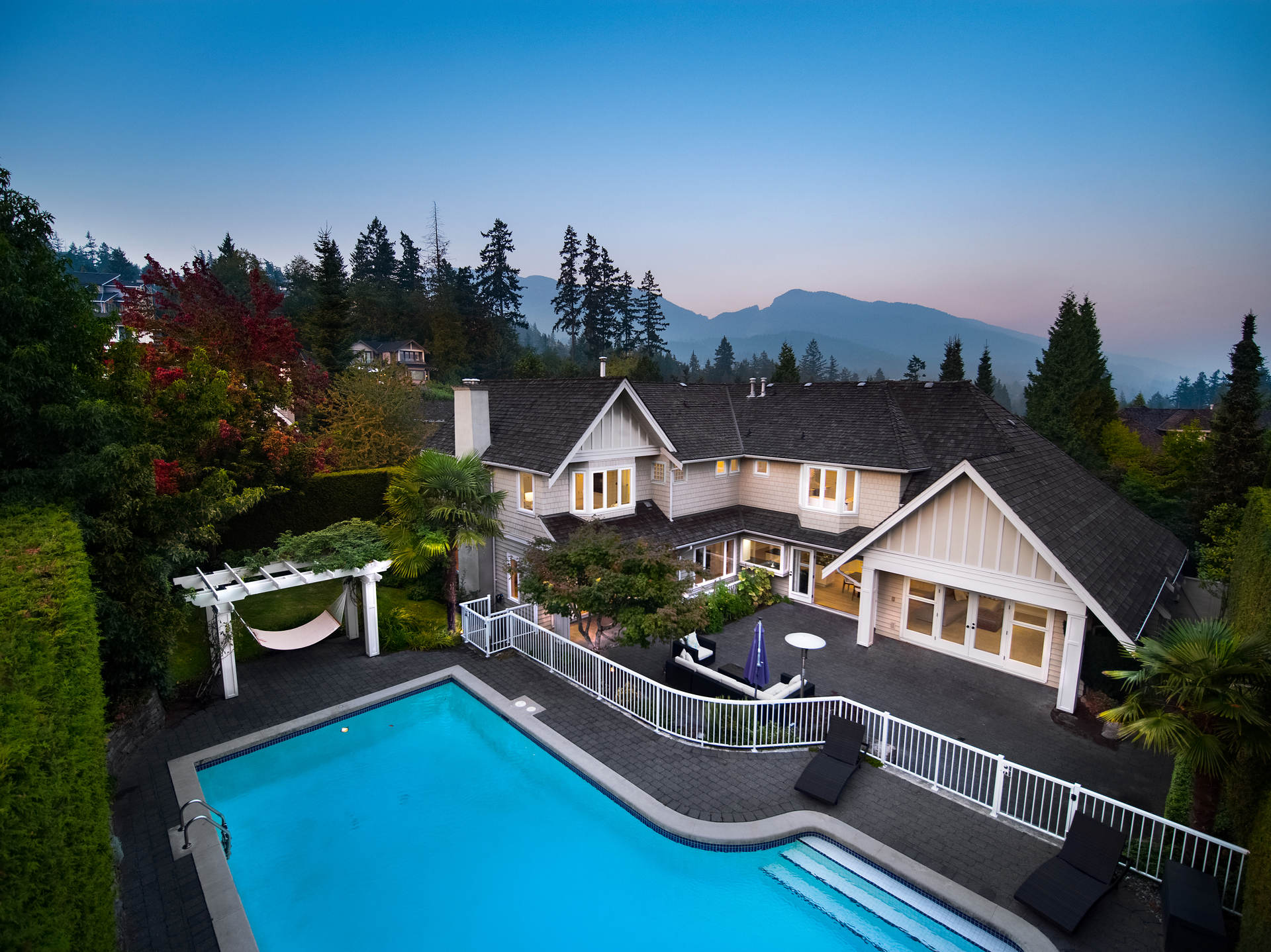 Aerial View - Pool at 4682 Decourcy Court, Caulfeild, West Vancouver