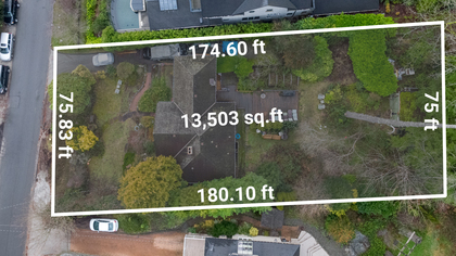 overhead-lot-w-dimensions at 449 Hillcrest Street, Westmount WV, West Vancouver