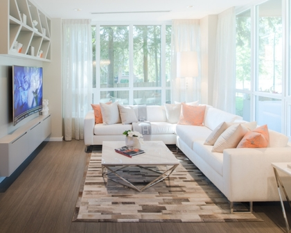 Living Room (Showroom) at 3093 Windsor Gate, New Horizons, Coquitlam