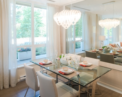 Dining Area (Showroom) at 3093 Windsor Gate, New Horizons, Coquitlam