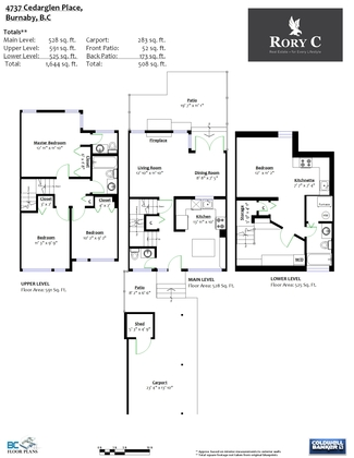 floorplan at 4737 Cedarglen Place, Greentree Village, Burnaby South