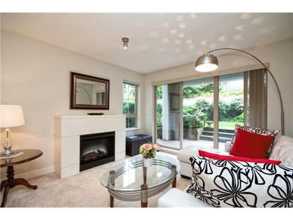 living room off patio at #118 - 2088 Beta Avenue, Brentwood Park, Burnaby North