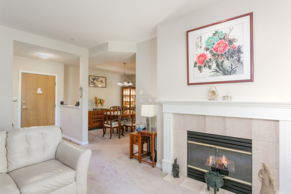 living-rm-fireplace-entry at #304 - 5760 Hampton Place, University VW, Vancouver West