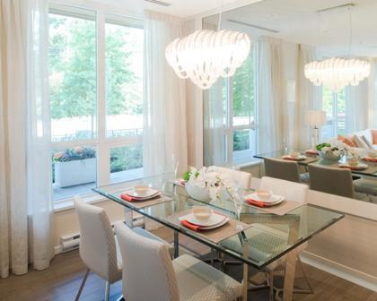 dining room at #1209 - 3093 Windsor Gate, New Horizons, Coquitlam