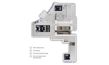 amenity-ground-floor-layout-main-entry at #3803 - 518 Clarke Road, Coquitlam West, Coquitlam