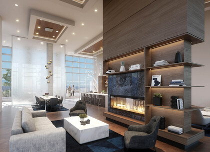 amenity-skylounge-fireplace at #3803 - 518 Clarke Road, Coquitlam West, Coquitlam