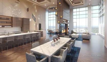 amenity-social-skylounge-dining-area at #3803 - 518 Clarke Road, Coquitlam West, Coquitlam