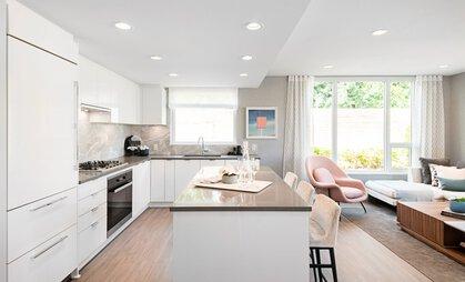 kitchen-living-rm at #808 - 3699 Sexsmith Road, Garden City, Richmond