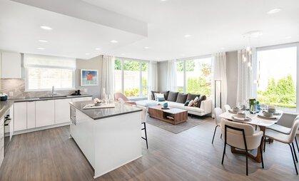 open-plan-kitchen-dining-living-rm at #808 - 3699 Sexsmith Road, Garden City, Richmond