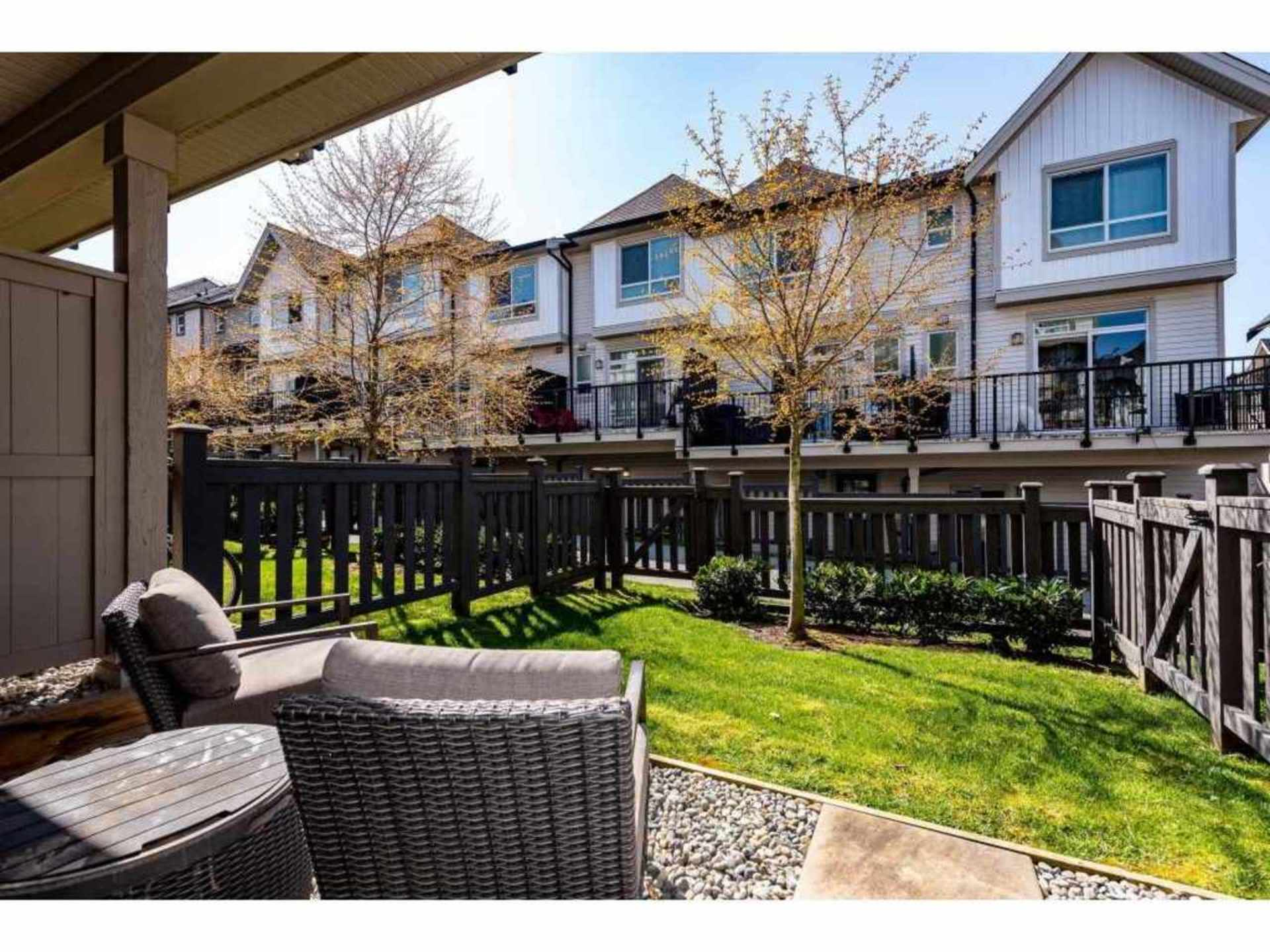 Your own private fenced yard and sitting area w/direct access to the pathway and trail system. at 94 - 30989 Westridge Place, Abbotsford West, Abbotsford