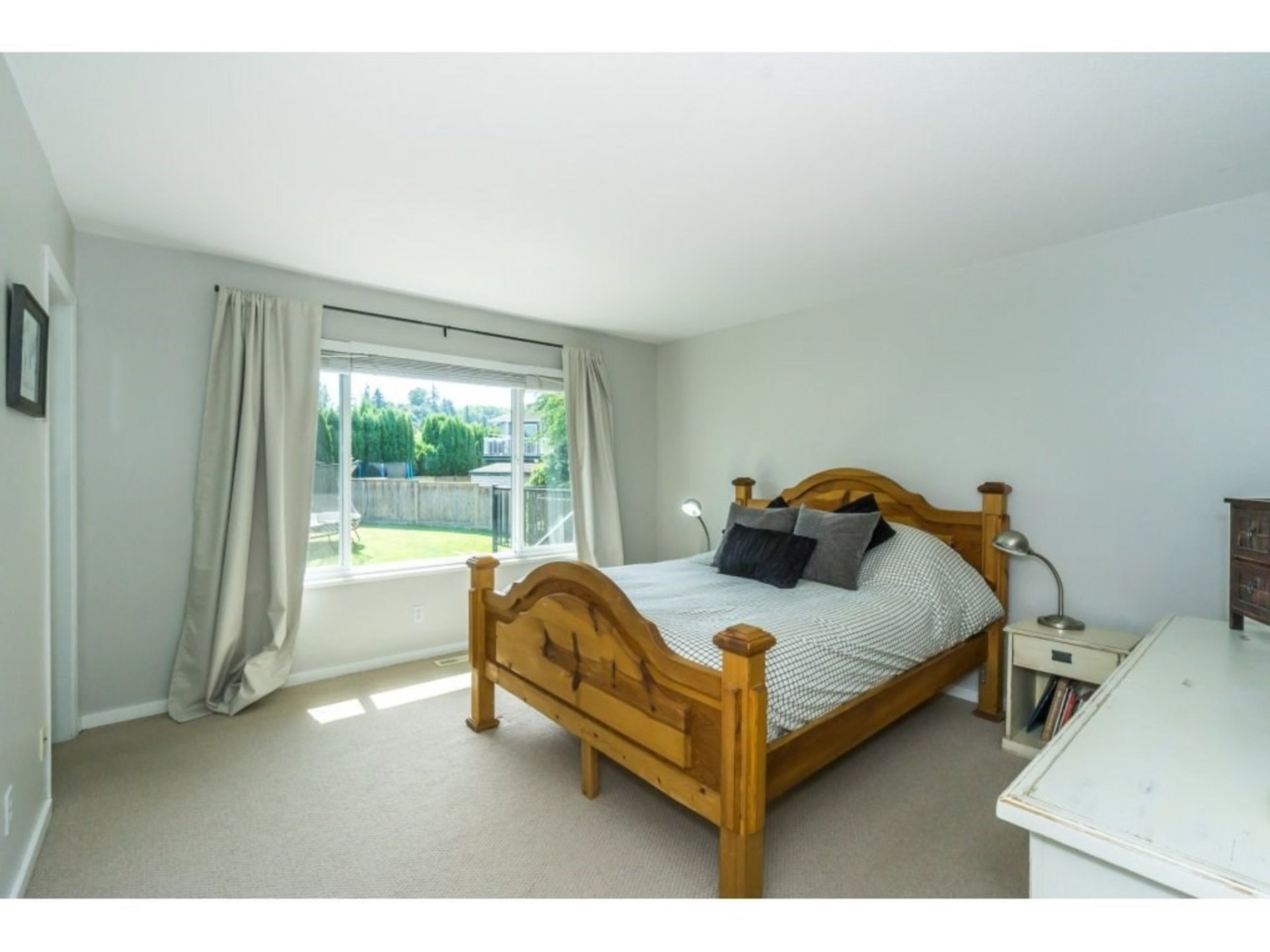 Master Bedroom with picturesque view of backyard at 21662 50a Avenue, Murrayville, Langley