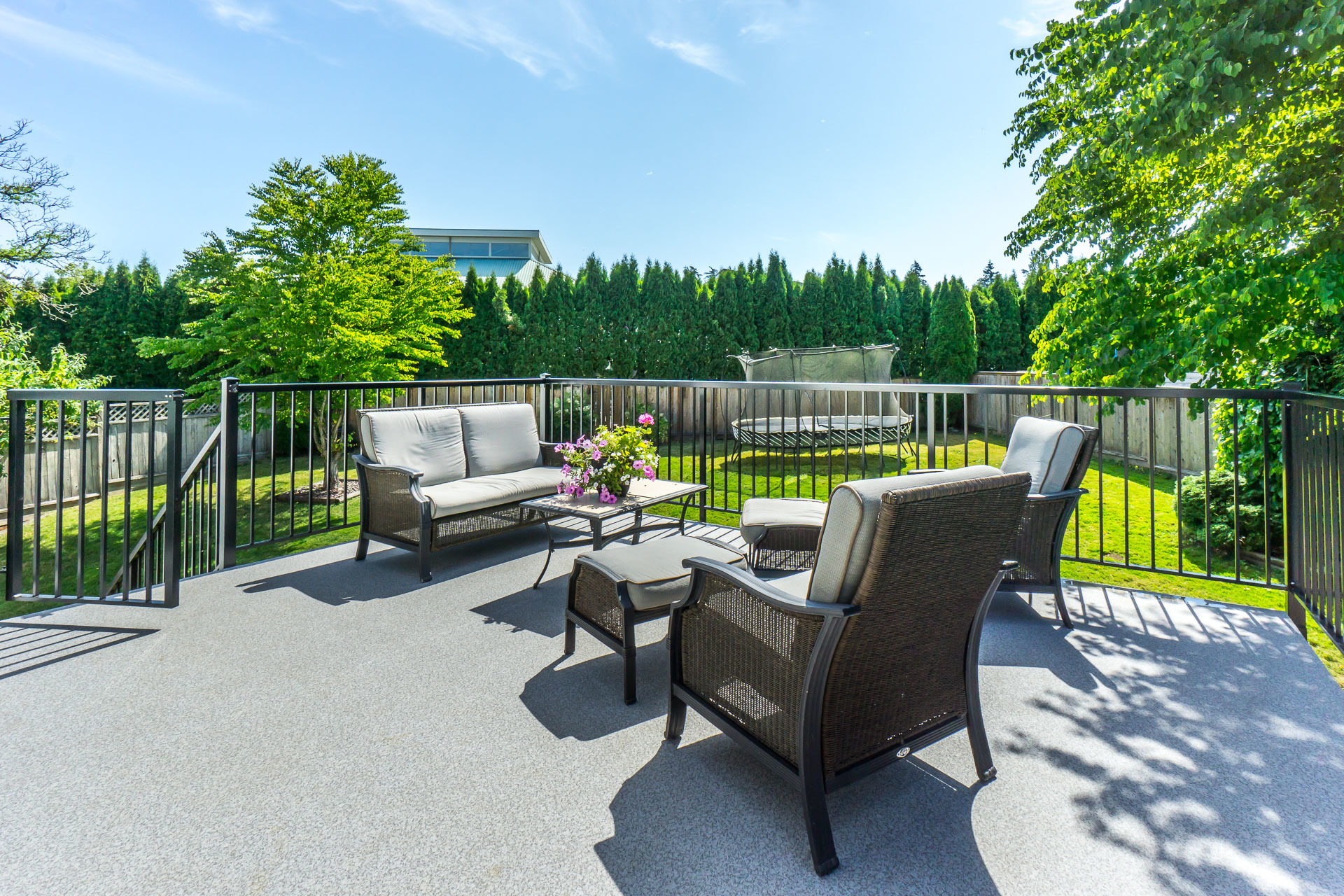 Back Deck with view of Backyard at 21662 50a Avenue, Murrayville, Langley