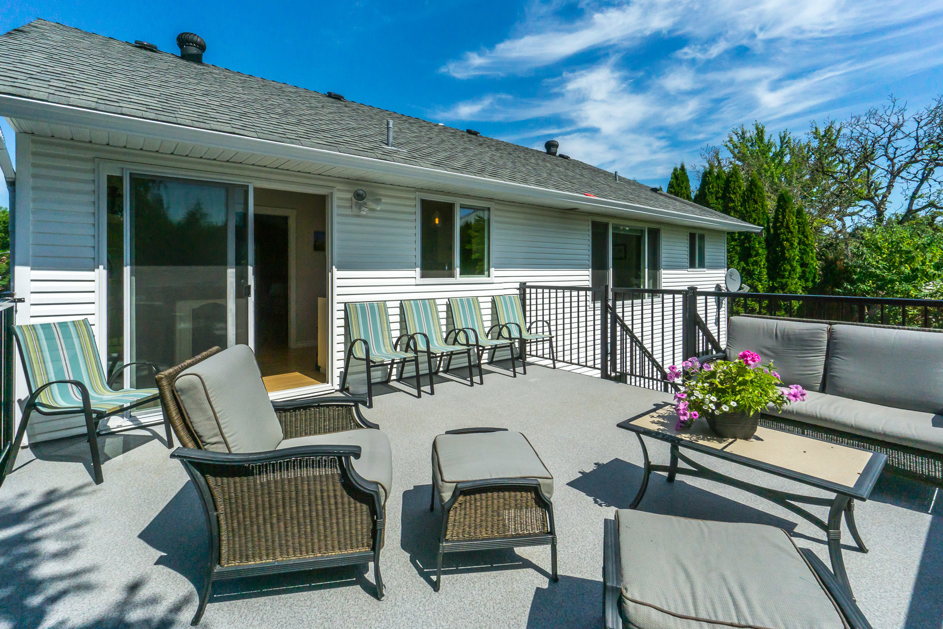 Back Deck right off the Kitchen at 21662 50a Avenue, Murrayville, Langley