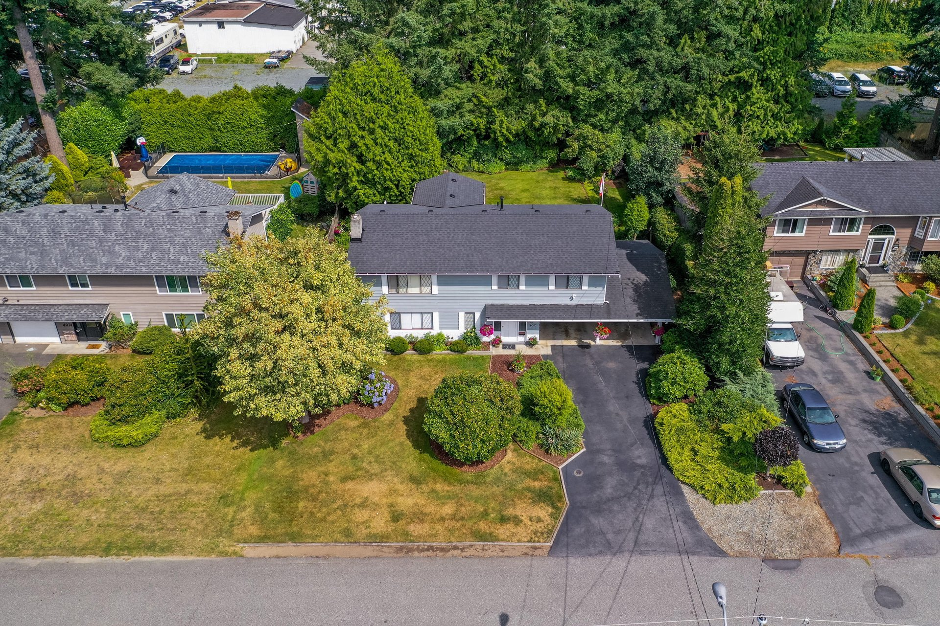Aerial Front and Street View at 4062 207a Street, Brookswood Langley, Langley
