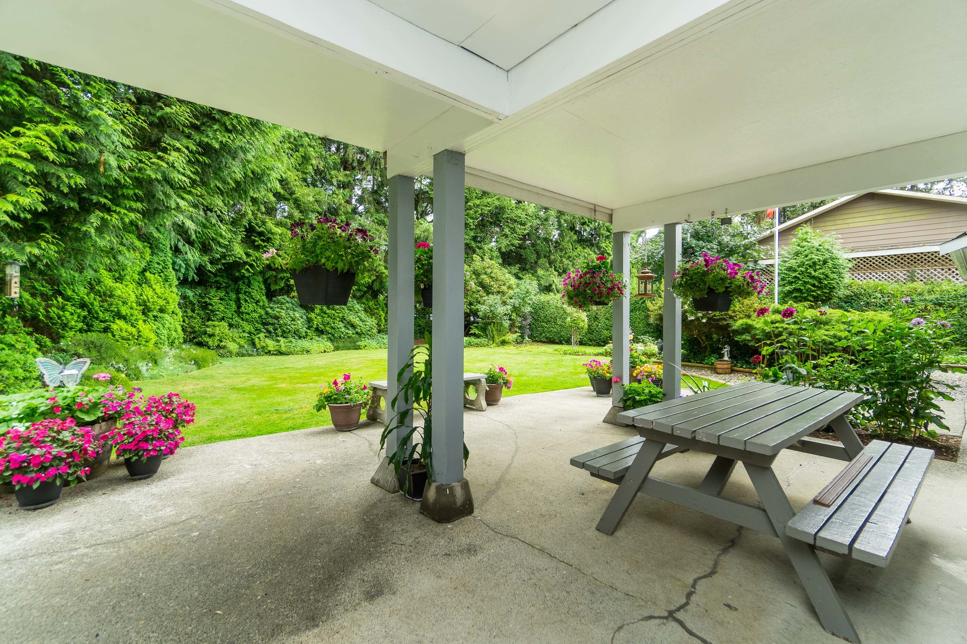 Covered patio area in Backyard at 4062 207a Street, Brookswood Langley, Langley