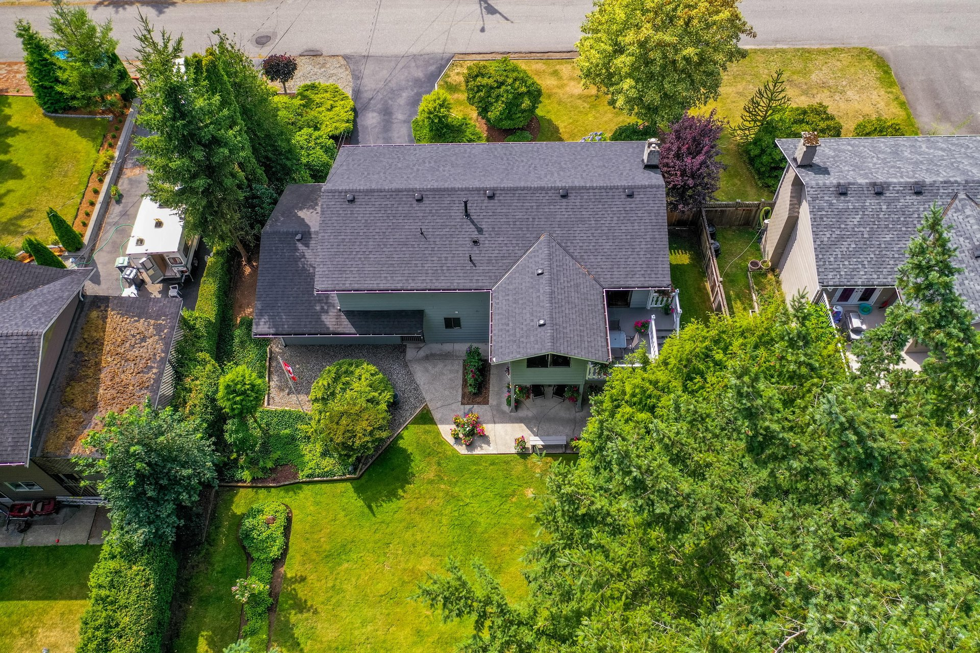 Aerial Backyard View at 4062 207a Street, Brookswood Langley, Langley