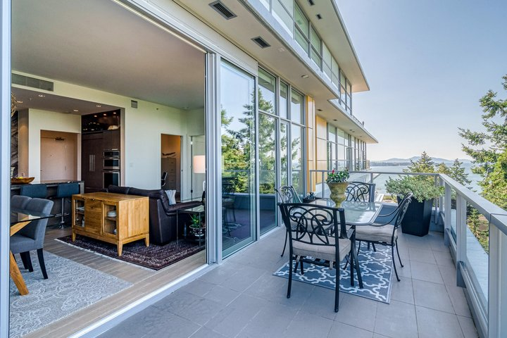 Patio with Ocean View and Island View at 1104 - 1501 Vidal Street, White Rock, South Surrey White Rock