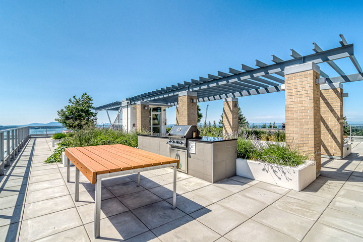 Rooftop Patio with Panoramic Ocean and Mountain View at 1104 - 1501 Vidal Street, White Rock, South Surrey White Rock