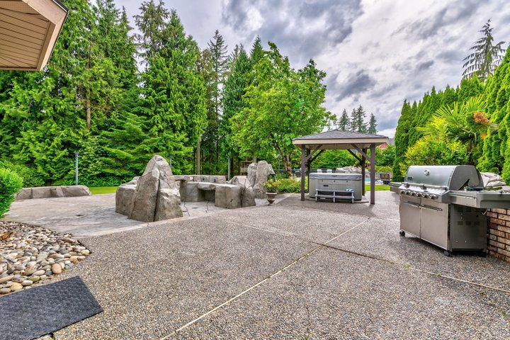 Patio & Covered Hot Tub at 1384 Glenbrook Street, Burke Mountain, Coquitlam