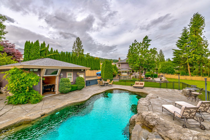 Pool Area & Backyard at 1384 Glenbrook Street, Burke Mountain, Coquitlam