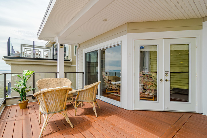 Main Floor Balcony with Views at 15090 Beachview Avenue, White Rock, South Surrey White Rock