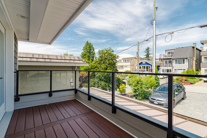 Balcony off of Office/ Flex Area & Second Bedroom  at 15090 Beachview Avenue, White Rock, South Surrey White Rock